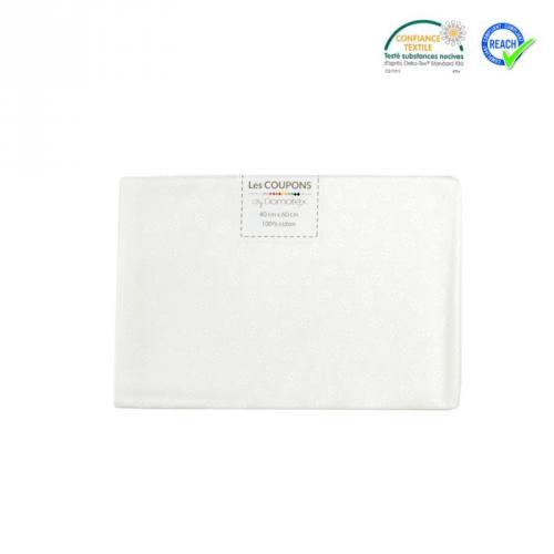 Coupon 40x60 cm coton blanc motif petite feuille telma