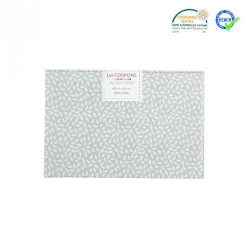 Coupon 40x60 cm coton gris motif grain de riz stigmat