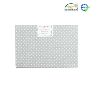 Coupon 40x60 cm coton gris motif pois pisani