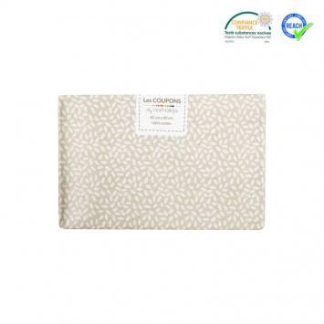 Coupon 40x60 cm coton beige motif grain de riz stigmat