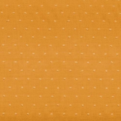 Voile de coton plumetis ocre uni