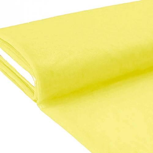 Plaquette 25m Tulle déco jaune citron grande largeur