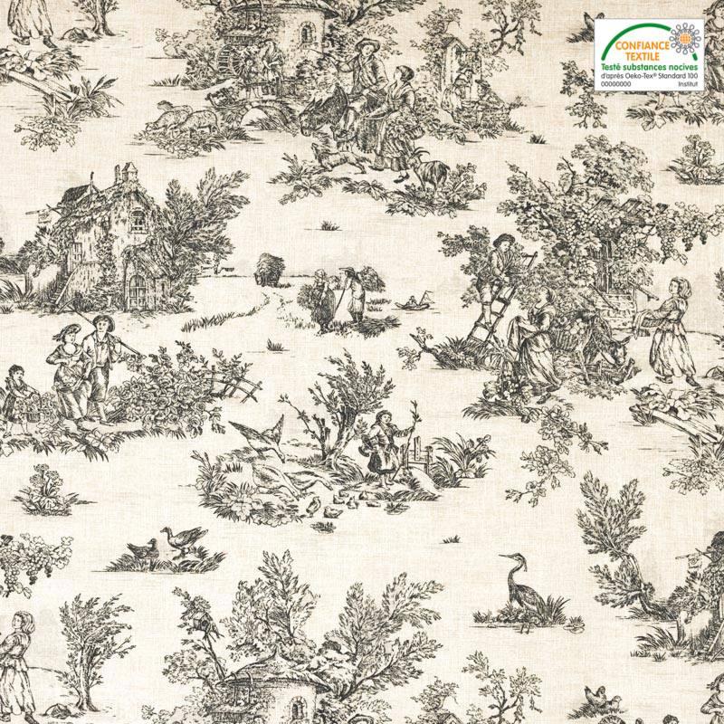 Coton cretonne grège petit motif pastoral gris