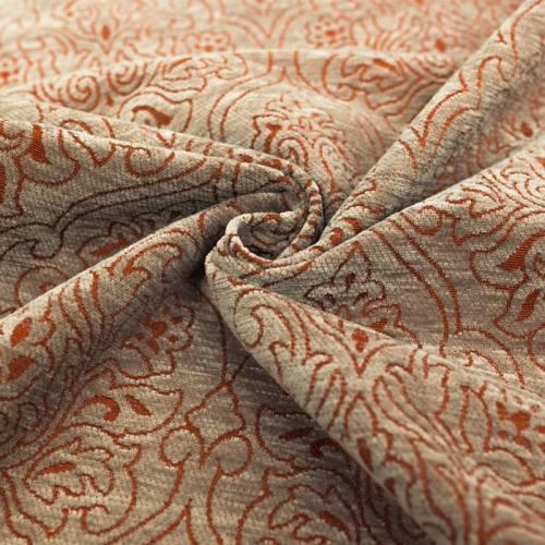 Jacquard velours ras motif arabesque gris et rouge