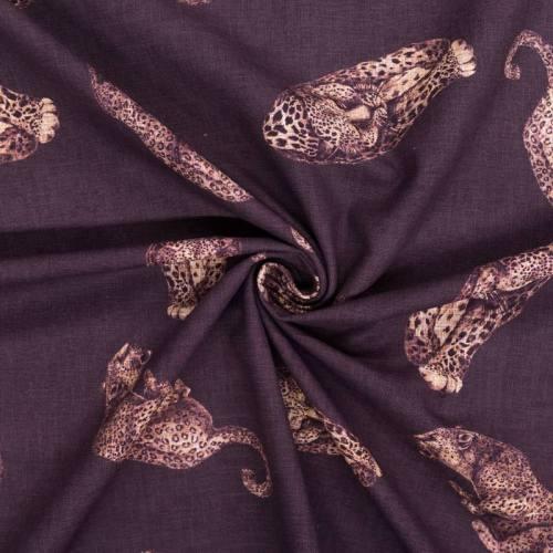 Toile polycoton grande largeur marron motif léopard
