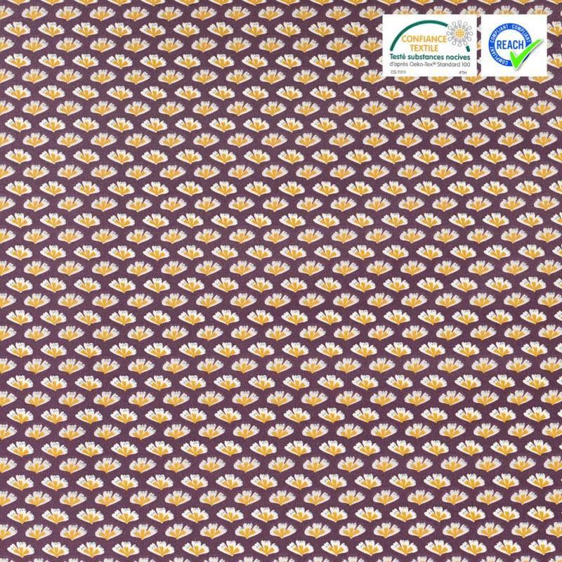 Coton enduit prune motif sriko ocre