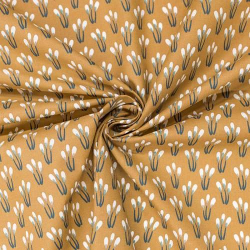 Coton noisette motif fleurs vertes papluma