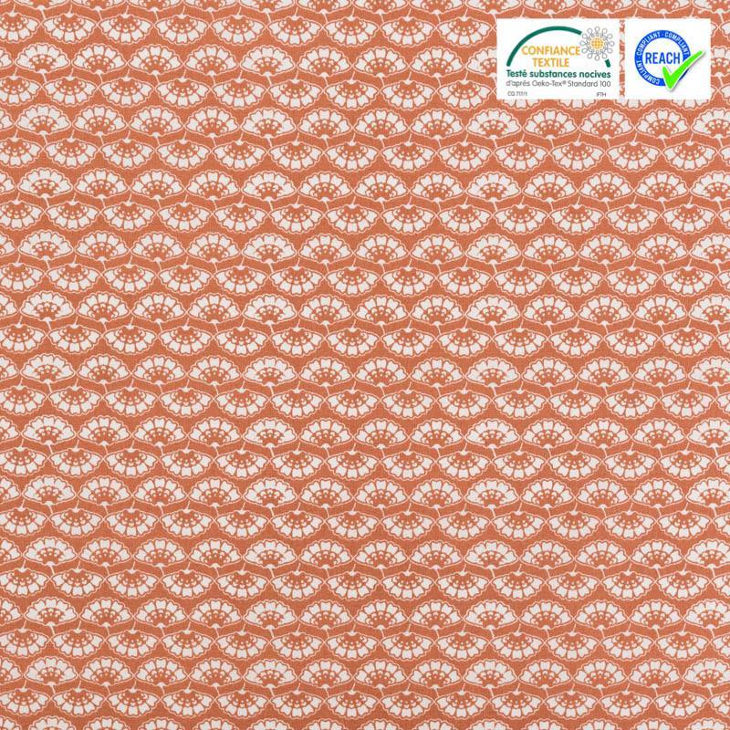 Coton rouge terracotta motif fleur blanche