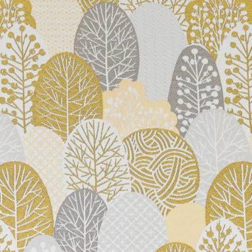 Jacquard blanc motif arbres style japonais or et argent