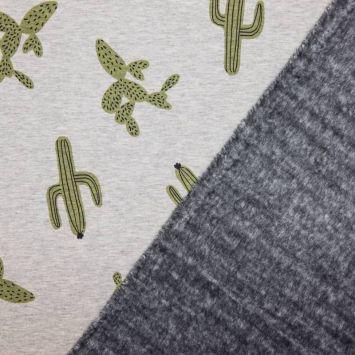 coupon - Coupon 45cm - Tissu molleton gris motifs cactus envers polaire