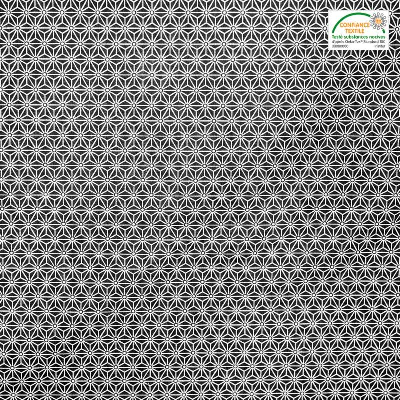 Coton noir petit motif asanoha