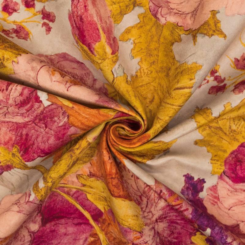 Velours ras beige motif esquisses de fleurs roses et jaunes