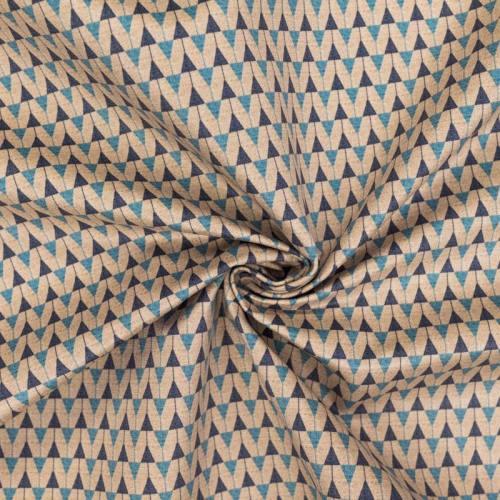 Velours ras sable motif duo de triangles bleu foncé et bleu clair