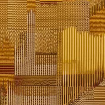 Velours ras motif rayures pixélisées jaunes et moutarde
