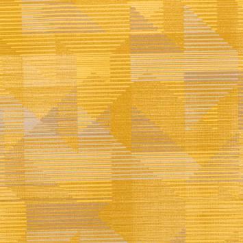 Velours ras motif rayures décomposées jaunes et grises