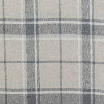 Tissu lainage tartan gris et écru