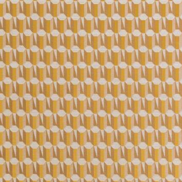 Jacquard motif géométrique blanc et doré