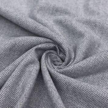 Tissu effet lainage motif chevrons gris bleu et écrus
