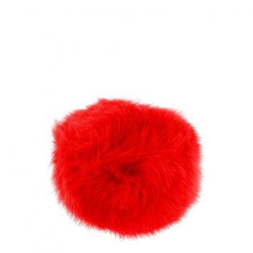Pompon rouge fausse fourrure