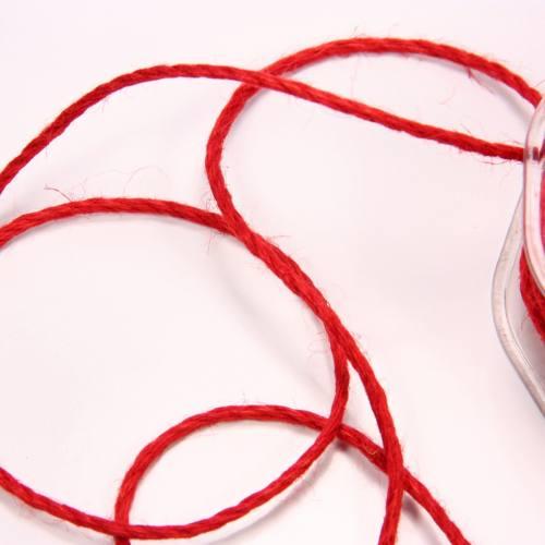 Cordelière jute 3 mm rouge