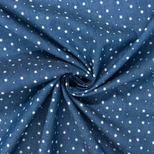 Tissu jean chambray motif étoile