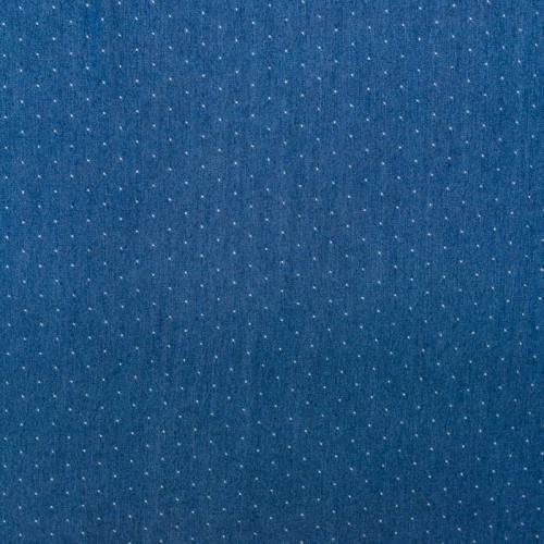 Tissu jean viscose bleu imprimé petit pois