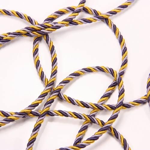 Cordelière Rayonne 4 mm violet parme jaune (10)