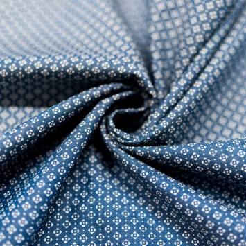 Tissu jean chambray motif losange ethnique