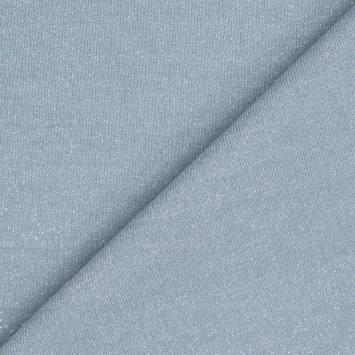 Tissu molleton french terry bleu clair pailleté