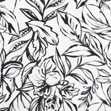 Satin de coton extensible blanc motif feuillage peint noir