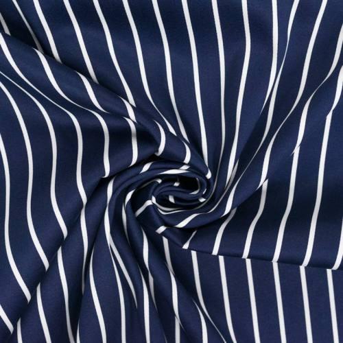 Satin de coton bleu marine à fines rayures écrues