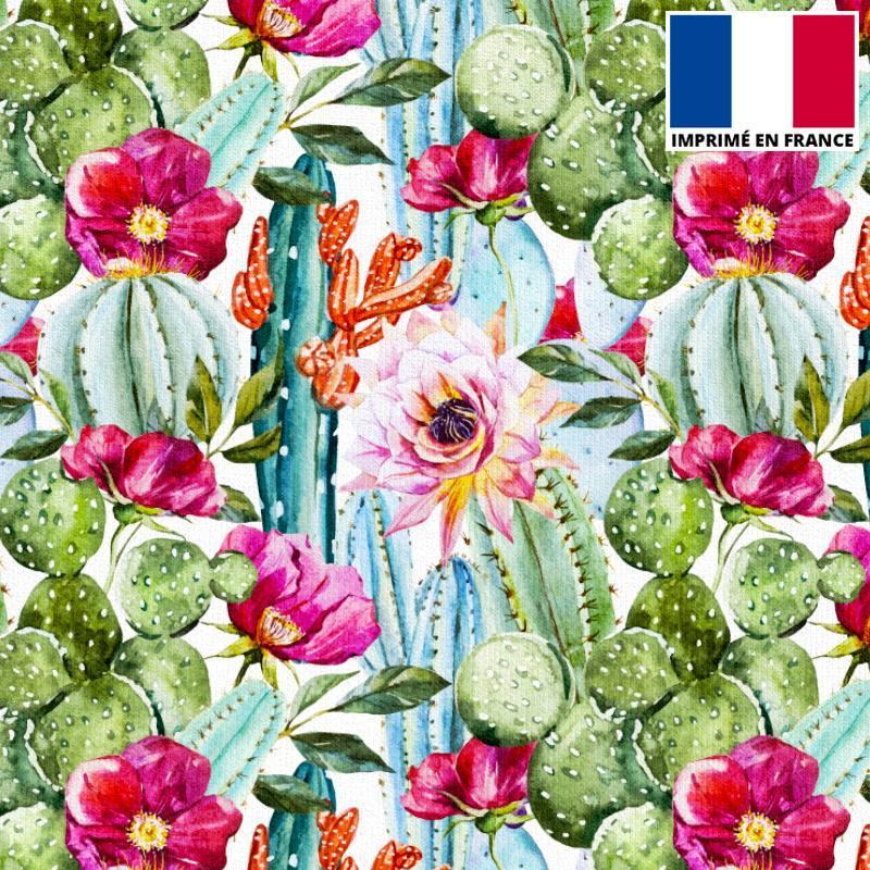 Velours ras écru motif cactus fleuris