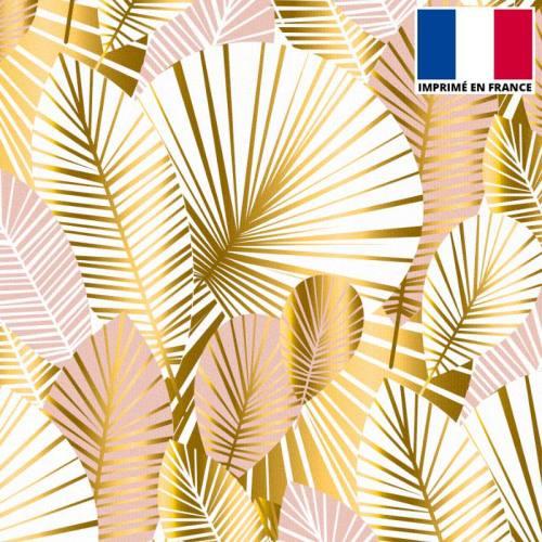 Velours ras écru motif feuilles art déco roses et or