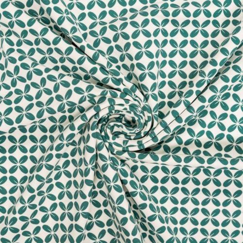 Jersey écru motif fleur géométrique verte
