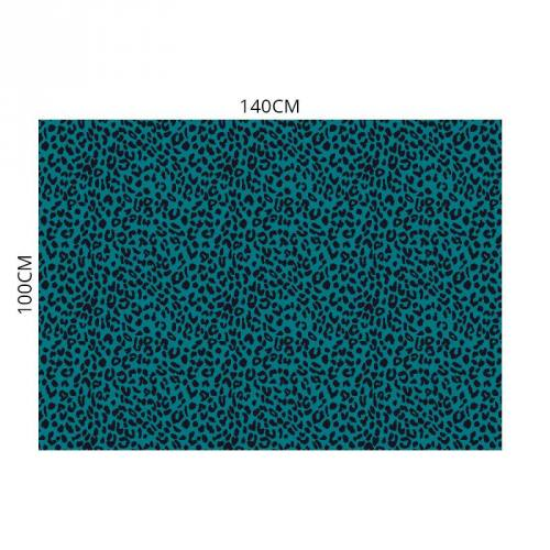 Velours ras imprimé léopard bleu canard