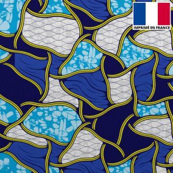 Velours ras imprimé wax gris bleu et jaune