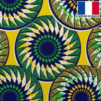 Velours ras imprimé wax rosace bleu marine vert et jaune