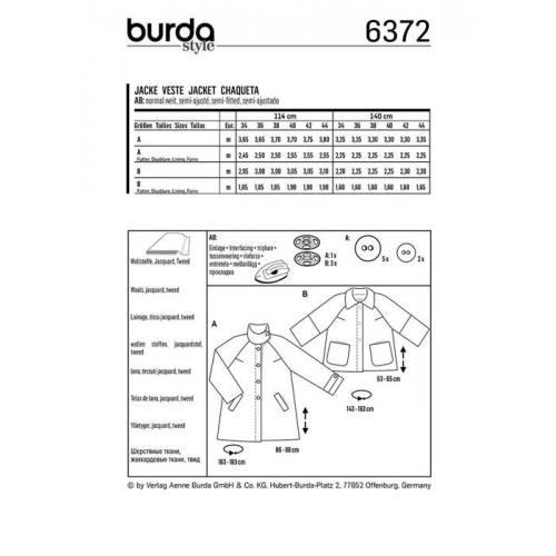Patron Burda 6372 : Veste Taille 34-44