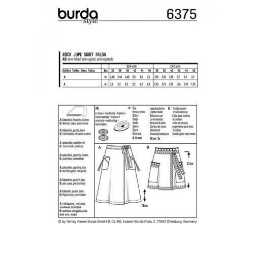 Patron Burda 6375 : Jupe Taille 36-46