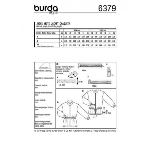 Patron Burda 6379 : Veste Taille : 36-46