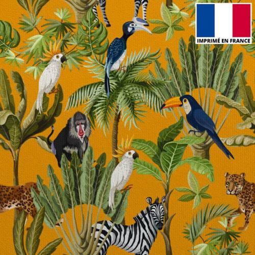 Velours ras moutarde motif jungle et animaux