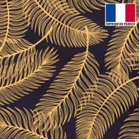 Mousseline crêpe imprimée palme dorée