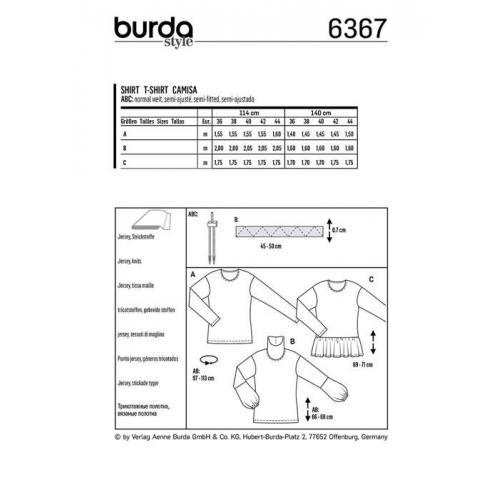 Patron Burda 6367 : T-shirt Taille : 36-44