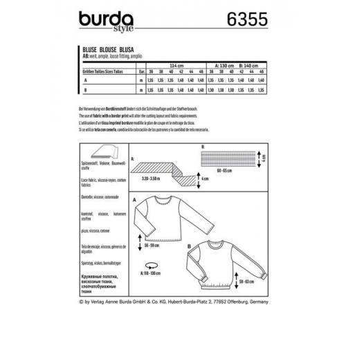 Patron Burda 6355 : Blouse Taille : 36-46