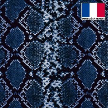 Tissu scuba imprimé peau de serpent bleue