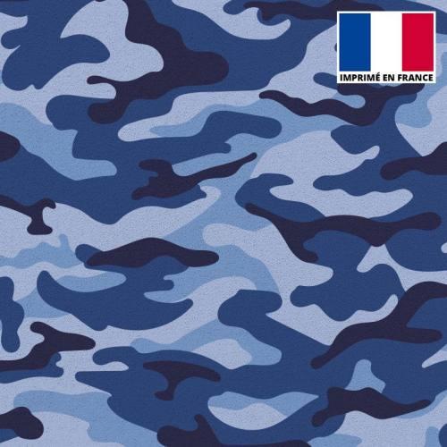 Tissu scuba imprimé militaire bleu