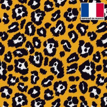 Maille scuba imprimée léopard ocre
