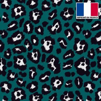 Maille scuba imprimée léopard vert