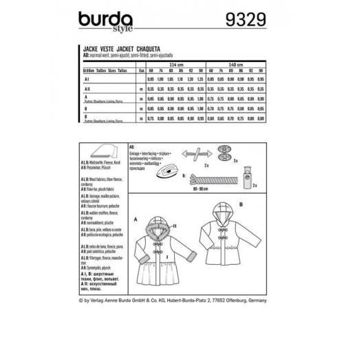 Patron Burda 9329 : Veste Taille : 68-98