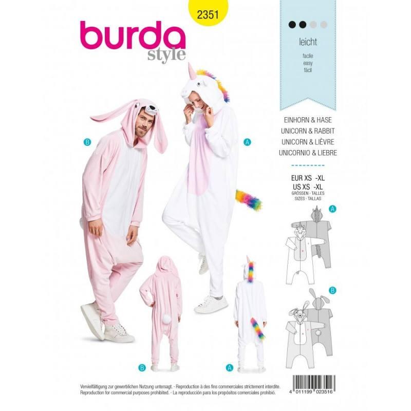 Patron Burda 2351 : Licorne et lièvre Taille XS-XL